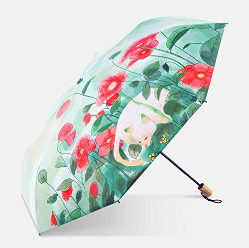 PARAMITA Reise-Regenschirm, Windproof Reinforced Frame, Getestet in 55mph Winde, leichte, Faltbare Regenschirm Regensicher Windproof Sonnenschutz und UV-Schutz, für Kinder, Freunde, Familie