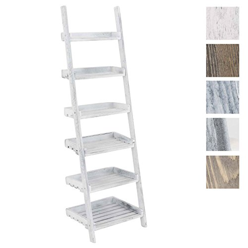 CLP Estantería Escalera Skylar con 6 Estantes I Estantería con Estilo Rústico I Estantería de 6 Estantes I Estantería Libreria Color: Blanco Envejecido