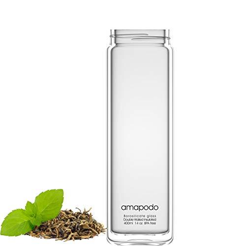 amapodo Botella de cristal de doble pared para té, cristal de repuesto, 400 ml, diseño de logotipo