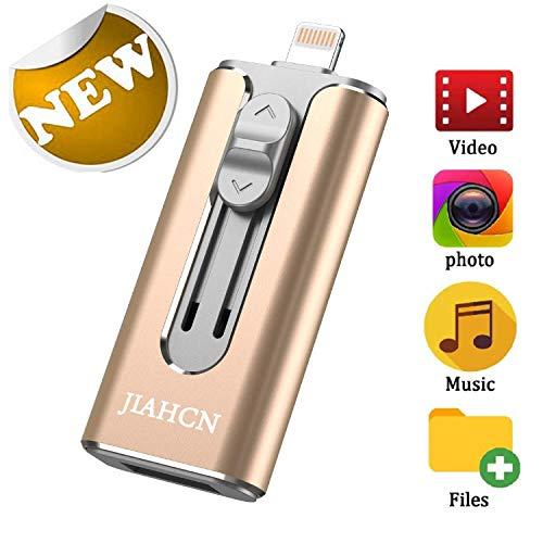 IOS Flash Drive für iPhone RMF Photo Stick 128 GB Speicherstick USB 3.0 Flash Drive Lightning Memory Stick für iPhone iPad Android und Computer Gold 128 GB