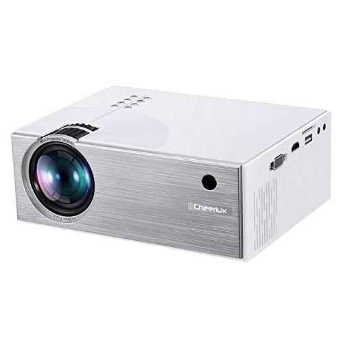Luoshan Lin C7 1800 lúmenes 800 x 480 HD 720P 1080P proyector Smart, Soporte HDMI/USB/VGA/AV/SD (Negro) (Color : White)