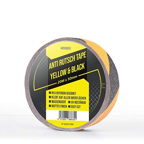 AVOXXO - Cinta adhesiva antideslizante [20 m x 5 cm] - Amarillo/Negro - Para interior y exterior - Para todas las superficies - Fuerza adhesiva extremadamente alta - Resistente y fácil montaje.