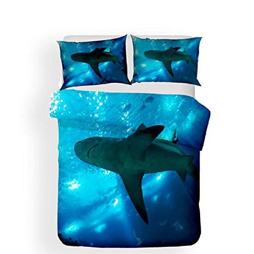 Funda nordica 90 Tiburón Azul Ropa de Cama Microfibra fácil Cuidado Juego de Funda de edredón 135x200cm con 2 Fundas de Almohada 50x75cm