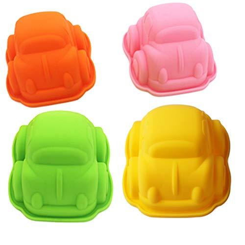 4er Set Auto Backform Cartoons Auto Kuchenformen Sanft Seifenform 3D Groß Silikon Fondant Formen 3D Car Silikonformen Kinder Hitzebeständig für Gelee Schokolade Süßigkeiten Käsekuchen (Farbe Zufällig)