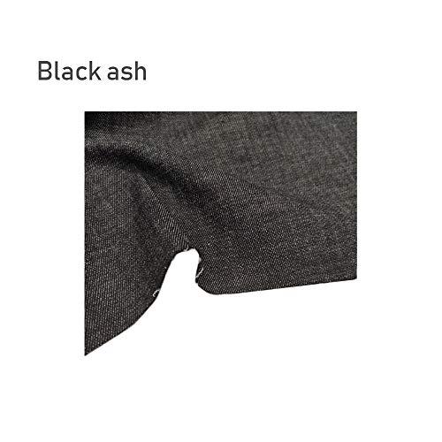 Hoge stretch denim katoen zand wasstof heren en dames herfst- en winterbroeken heren en dames broeken lange rok kledingstof (Color : Black ash)