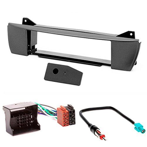 CARAV, mascherina dell'autoradio 11-127-4-7, 1-DIN + cavo ISO e adattatore dell'antenna