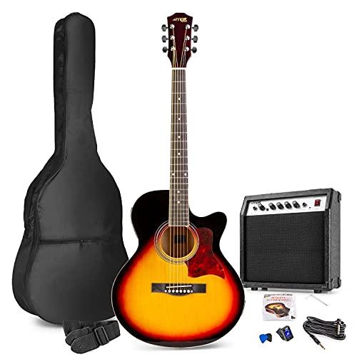 Max Showkit Guitare électro-Acoustique – Sunburst, Cordes en Acier, ampli 40W, Sac de Transport, accordeur numérique, Un Jeu de Cordes, Deux médiators et Une Sangle