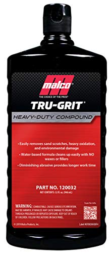 Malco Tru Grit - Heavy Duty Buffing and Polishing Compound for Cars/Automotive Paint Correction and Detailing/Removes 1000-1500 Grit Sand Scratches / 32 Oz. (120032)