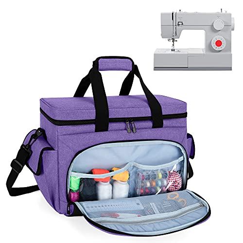 CURMIO Sewing Machine Carrying Case with Bottom Base Feet Pad, Universal SewingMachineToteBag Compatible with Most Standard Sewing Machine and Accessories, Purple