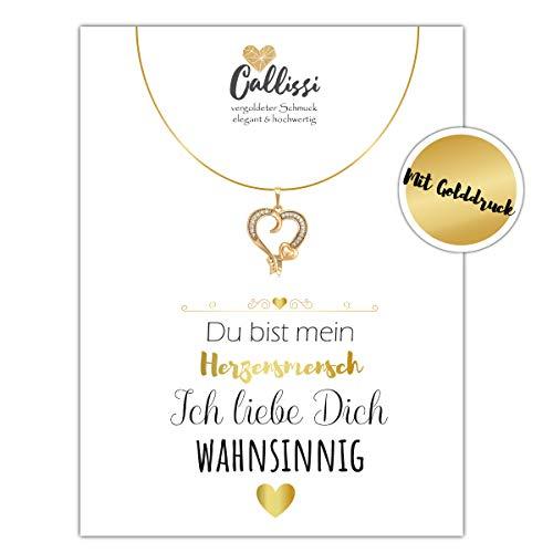 Geschenk für die Freundin Frau - Kette Gold 18K - Karat gelbgold echt vergoldet Callissi Damen Schmuck Grußkarte Karte mit Spruch Liebeserklärung Postkarte Kette mit Herz (Herz)