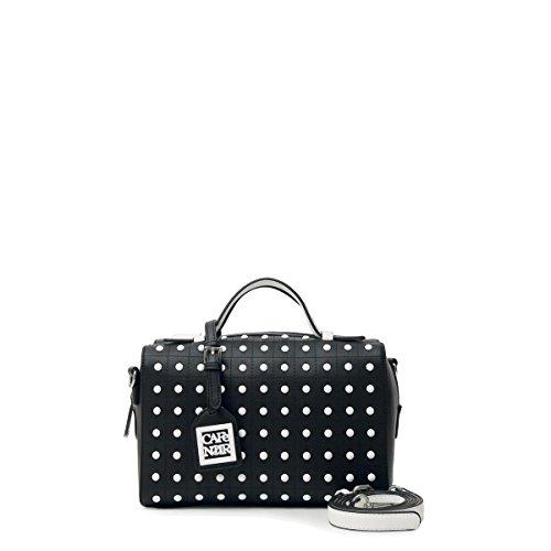 CafèNoir BI001 borsa donna bauletto nero e bianco a due manici con tracolla