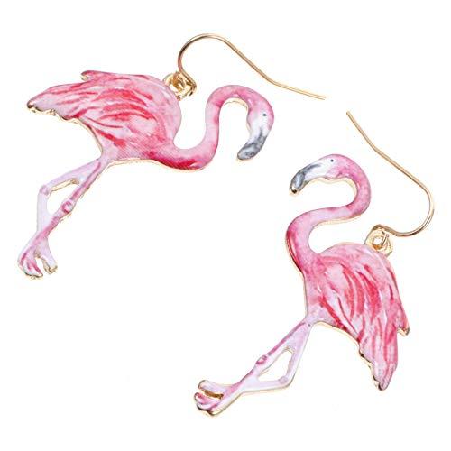 PRETYZOOM Pendientes de Flamenco Pendiente Colgante de Metal Joyería de Flamenco Pendientes de Pájaro Esmaltado para Mujer 1 par