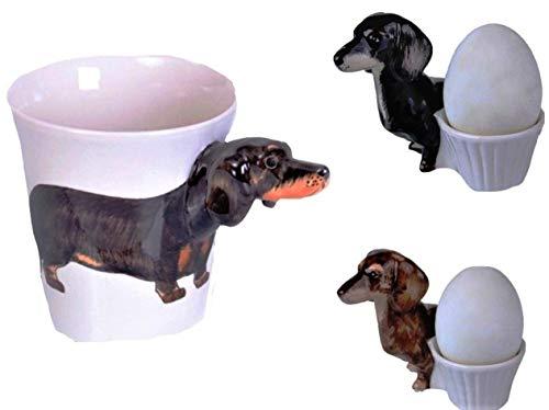 Dackel Hund Tier Tasse Keramik Becher 3D Dackel Eierbecher Geschirr mit Hund Keramik Set 3 teilig