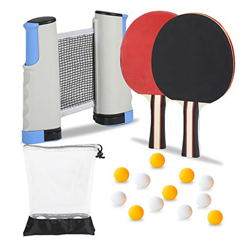 Ping Pong Paddles Set w/Retractable Ping Pong Net (Bracket Clamps) + Pro Ping Pong Rackets (2-Players) + 12 Premium Game Balls + Portable Carry Bag, Complete Table Tennis Accessories Bundle (Gray)