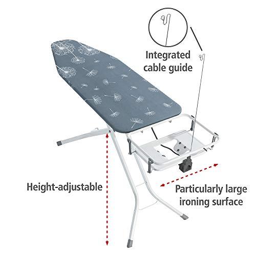 Wenko Bügeltisch Professional, extra breites Bügelbrett mit großer Ablage für die Dampfbügelstation, mit Bügelbrettbezug, geeignet für Dampfbügeleisen, Metall, 130 x 99 x 48 cm, weiß/blau - 6