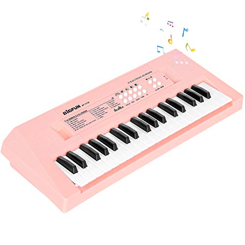 sanlinkee Piano Keyboard for Kids, 37 Keys Kids Keyboard Electronic Music Keyboard with Mini Microphone Educational Musical Toy Gifts for 3-7Years Old Girls Boys Beginners?Pink?