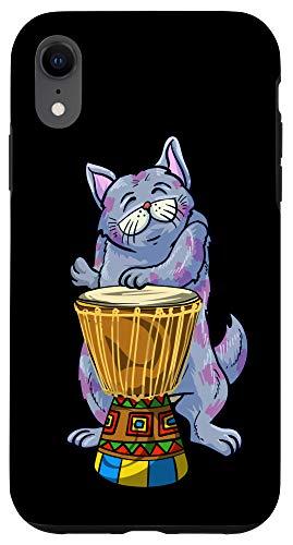 iPhone XR Funny Cat Playing Djembe Gift | Cute Kitten Musician Fan Case