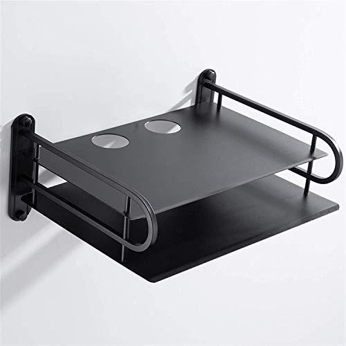 Estante de pared Venta al por mayor Negro Inalámbrico WiFi Router Almacenamiento Organizador Contenedor Cajas de contenedores, TV Conjunto Top Cajas de pared Soporte de montaje en pared Soporte de est
