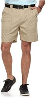 Side Elastic Relaxed Fit Cotton Cargo Shorts (Sculpted Stone, 40)