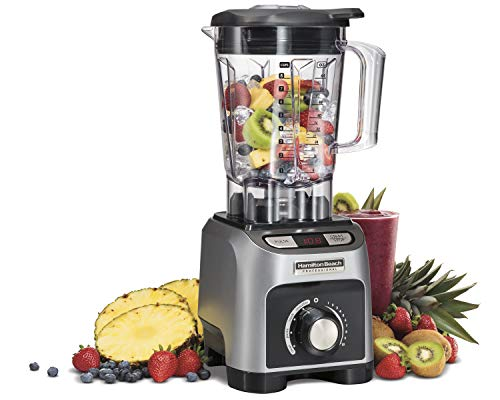 Hamilton Beach Professional 1800W Blender with 64oz BPA Free Jar, LED Timer, 4 Programs & Variable Speed Dial for Puree, Ice Crush, Shakes and Smoothies, Silver (58850)