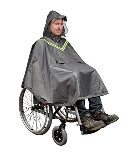 FabaCare Regenjacke Poncho für Rollstuhlfahrer, Regenponcho mit Sichtfenster und Reflektoren, Rollstuhl-Jacke mit Kapuze, grau