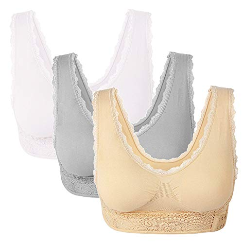 3 Pack Lace Sport Bras Adjustable Side Bra Front Cross Bras for Women Girls with Removable Pads (White/Nude/Grey, XXL 34D 36A 36B 36CD)