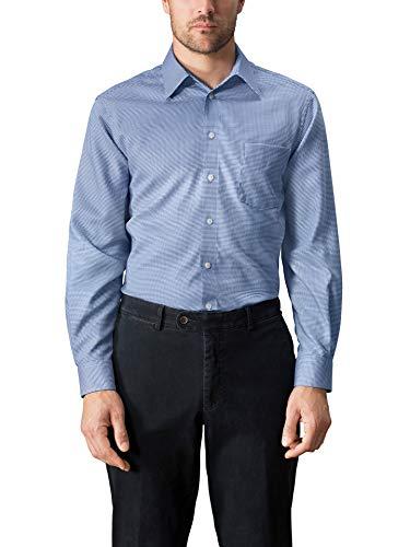 Walbusch Herren Hemd Bügelfrei Kragen ohne Knopf Gemustert Hahnentritt Blau 45-46 - Langarm