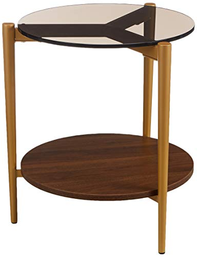 Amazon Marke - Rivet - Runder Beistelltisch mit Regalboden, 43x43cm, Glas/Nussbaum