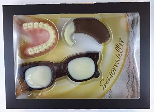 09#060221 Schokolade Senioren Set, Seniorenteller, Tortenverzierung, Gebiss, Zahn Prothese, Hörgerät