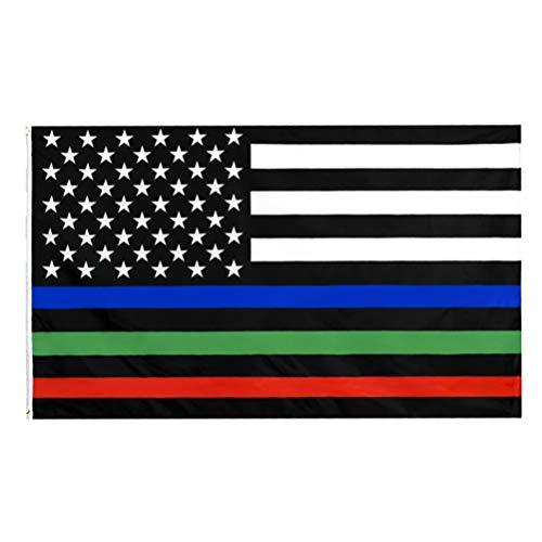 NONE Delgada Línea Bandera Americana Azul Verde Y Línea Roja Bandera Estadounidense Rayas Patrióticas Decoración de La Bandera para La Tienda de La Casa Festival del Día de La Independencia