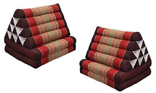 Wifash Set de 2 colchónes Thai 2 Pliegues, con cojín triángulo, Ocio, colchón, Kapok, Playa, Piscina, Fabricado en thailande, marrón-Rojo (2x82302)