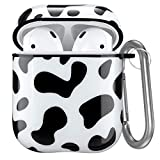 Hamile Cute Cover Compatible with Airpods Case, Hard Protective Cases Skin Fadeless Pattern Designed for Apple Airpod 2 & 1, with Portable Keychain Accessories for Girls Women Boys- Black Cow