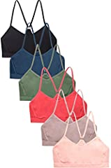 6 pack of sports bras One Size Light padding that is removable Lots of stretch for a comfortable and secure fit 90% Nylon, 10% Spandex