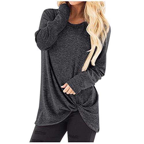 Damen OberteileV-Ausschnitt Baumwolle Langarm Plus Größe Tank Karriere Bloues T-Shirt Langarm-Shirt für Frauen