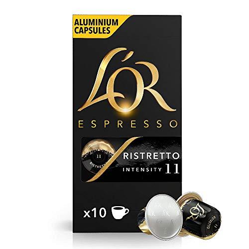 L'OR Espresso Kaffee Ristretto Intensität 11 - Nespresso®* kompatible Kaffeekapseln aus Aluminium - 10 Packungen mit 10 Kapseln (100 Getränke)