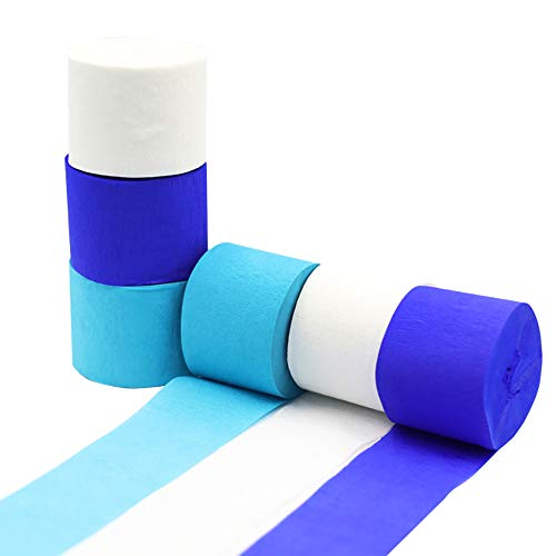 Crepe Paper Streamer Rolls Hanging Party Decoration Total 490-Feet, 6 Rolls, Theme Party Streamer for Wedding Bridal Baby Shower Birthday DIY Art Project Supplies, by BllalaLab White, Baby Blue