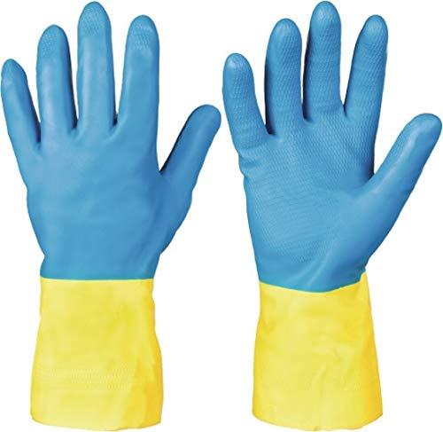 Feldtmann KENORA EN388 EN374 Gants de protection chimique catégorie 3 Taille 7 Longueur 32 cm Épaisseur 0,7 mm Bleu/jaune