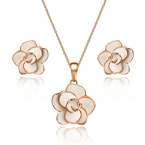 Rose Flower Necklace Earrings Set for Women 18K Gold Plated Jewelry Sets (White)