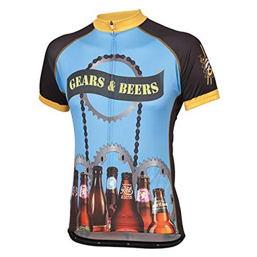Peak 1 Sports Gears & Beers Men's Cycling Short Sleeve Bike Jersey L - Men's Blue