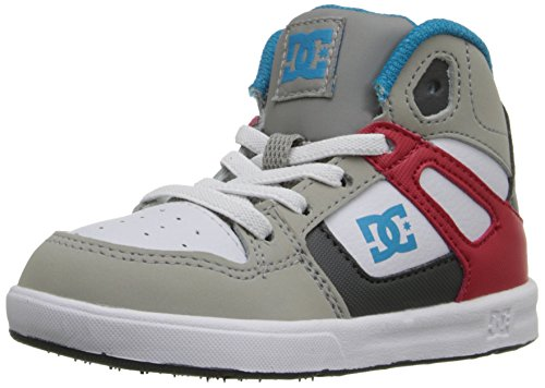 DC- Toddlers Rebound Ul Hi Top Shoes, UK: 4 Toddler UK, Grey/Red/Wh