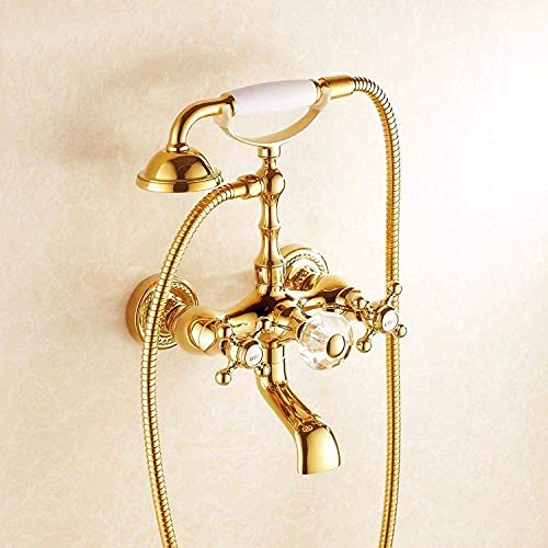 IUYJVR Grifos de Ducha Baño Dorado Grifo de bañera Latón Montado en la Pared Estilo de teléfono Cabina de Ducha Lavadora Grifo Mezclador