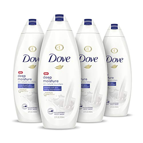 Dove Body Wash With Skin Natural Nourishers for Instantly Soft Skin and Lasting Nourishment Deep Moisture Sulfate Free 22 oz, 4 Count
