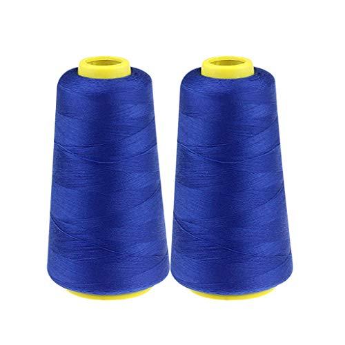 2X 2300 m Nähgarn Overlockgarn aus Polyester Universell Overlock konen Garn Bastelmaterialien Nähmaschinengarn Stickerei Nähgarn Nähen für Overlock-Nähmaschinen die Nähmaschine (Blau)