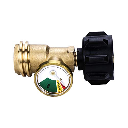 Camplux Propane Tank Gauge/Leak Detector Gas Pressure Meter Universal ACME/QCC1/Type1 Connection for RV Camper, Cylinder, BBQ Gas Grill, Heater and More Appliances, 100% Solid Brass