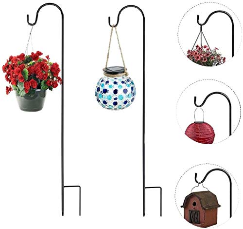 KSS Shepherd Crook Hooks,1.2Meter/47inch Metal Garden Stake with hooker for Solar Lights, Lanterns,Christmas Lights,Weddings Plant Baskets,Flower Ball (Black)