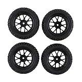 ELECTROPRIME 4pcs Tires RC Racing Wheel Set for HSP HPI 1/10 Car Truck