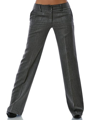Damen Business Hose Straight Leg Gerades Bein Stoffhose DA 13572 Farbe Grau Größe XL / 42