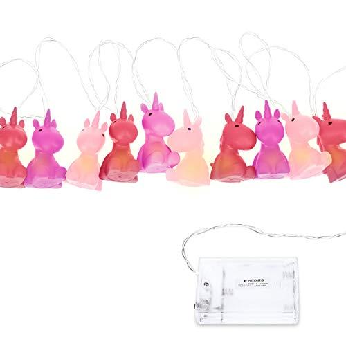 Navaris LED Lichterkette Einhorn Design - 2m lang - Süße Kinder Nachtlicht Minilichterkette mit kaltweißem Licht - Lichter Kette - Violett