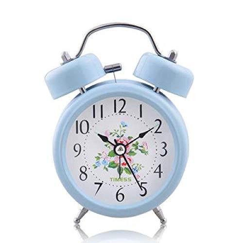 FPRW Idyllische retro wekker, stil scannen, luxe nachtkastje, dubbele bel, eenvoudige tafelklok om wakker te worden