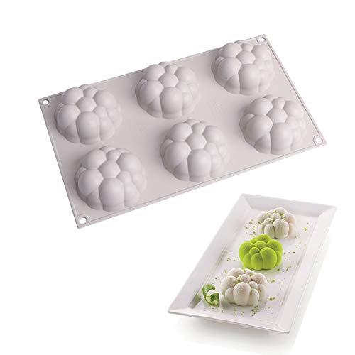 3D Cube Vela Moldes, FANDE 2 Pcs Molde de Silicona de Burbujas 3D, Nube de La Burbuja de Silicona Molde, Moldes para Hornear Pasteles de Mousse, Herramienta Para Hornear Chocolate - 6 Cavidades